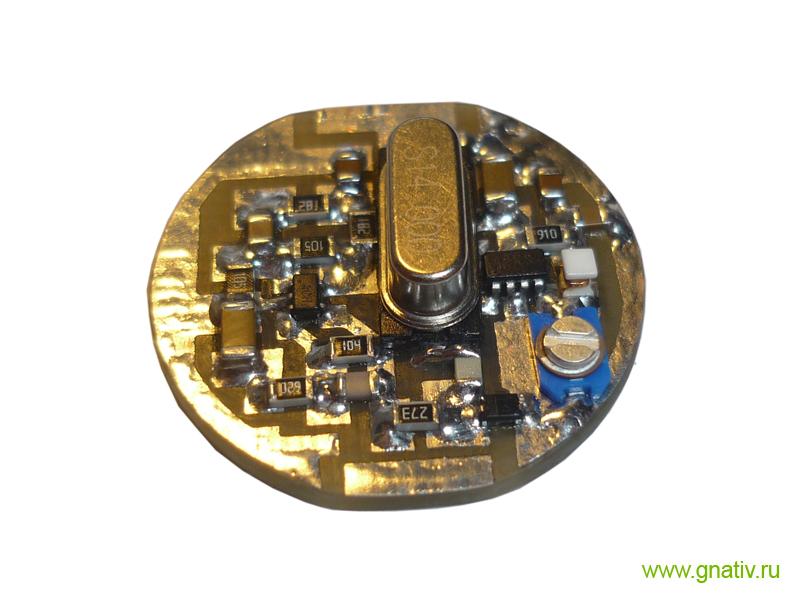Плата радиомикрофона после монтажа элементов