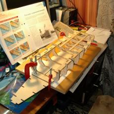 Первые контуры модели линкора Бисмарк